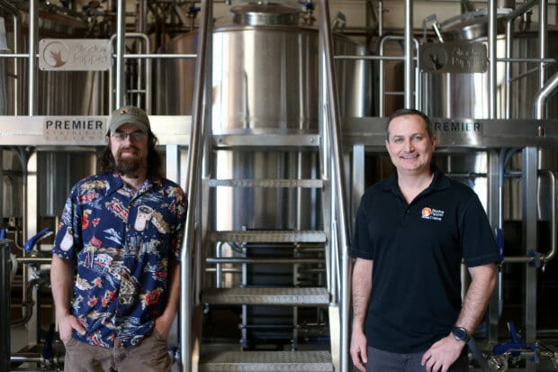 Shadow Puppet Brewing Co. brewmaster Craig Danielson, left, and owner Brian Blackburn, right, pose for a photograph at their brewery in Livermore, Calif., on Friday, Jan. 27, 2017. (Anda Chu/Bay Area News Group)