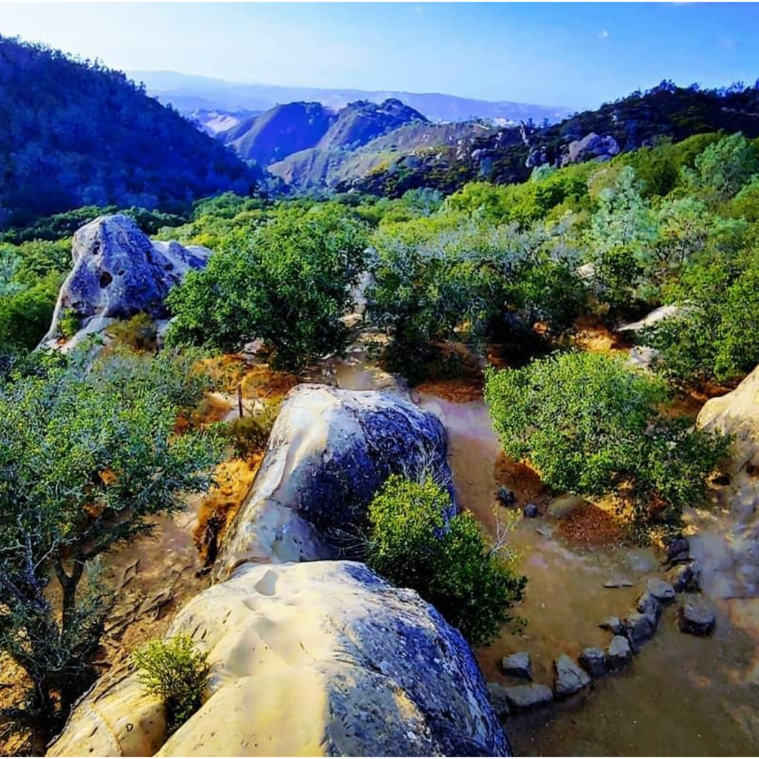 Odd rock formations are scattered with hills and valleys behind them at Mt. Diablo State Park