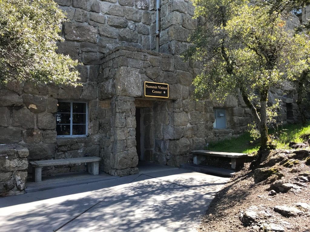 A photo of the fortress-like Summit Visitor Center's entrance