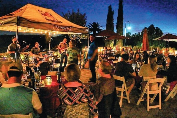 Cool evenings at Las Positas Winery - Livermore Valley Wine Country, California