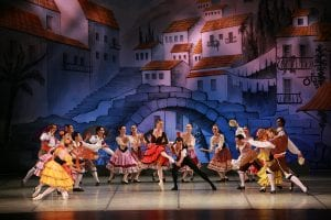 Cast of Don Quixote dancing on stage