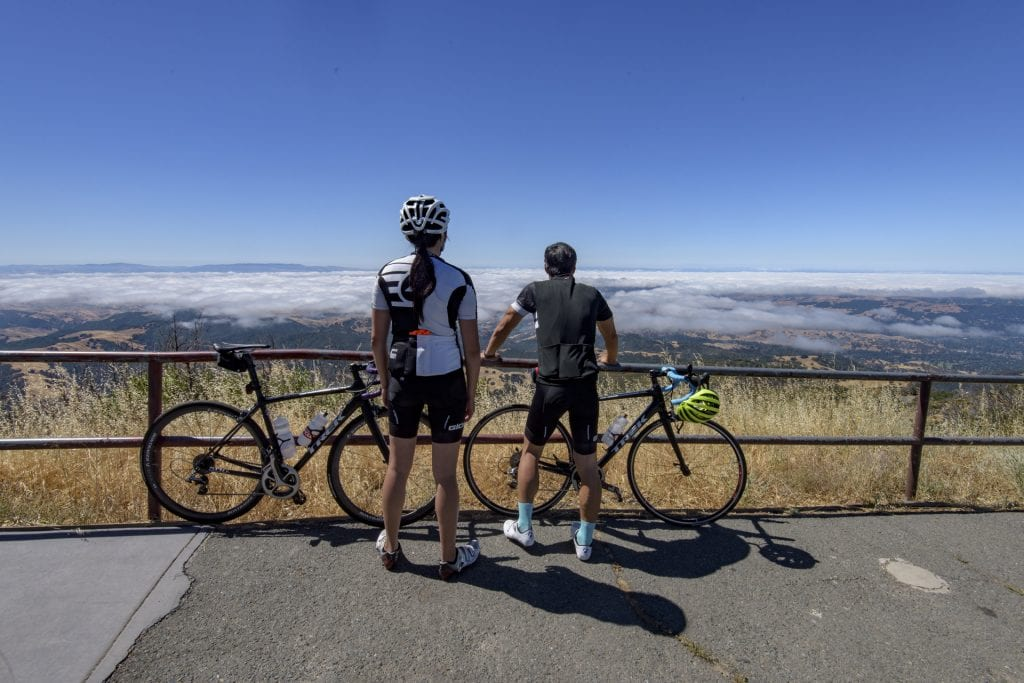 Bicyclists on Mt. Diablo State Park Summit