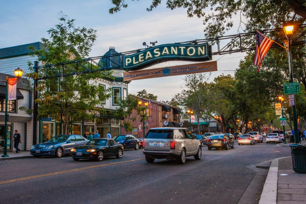 Downtown Pleasanton arch at nighttime