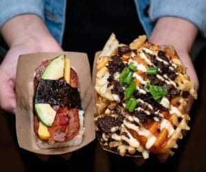 Criss-cut fries with toppings