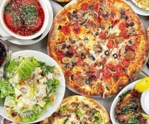 Pizza, salad and meatballs