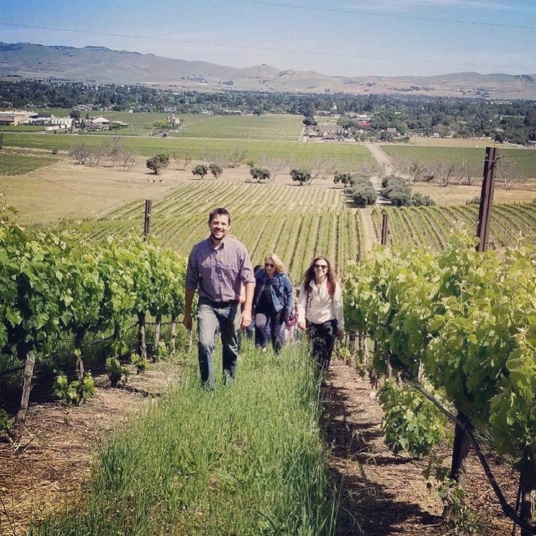 hikers in the vineyard