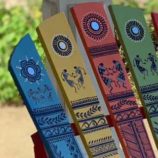 public art installation, Indian artwork on adirondack chair