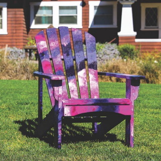 public art installation, galaxy painting on adirondack chair