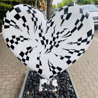 public art installation or a large black and white heart