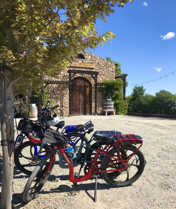 electric bikes in front of winery