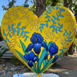public art installation of a large Van Gogh-inspired heart