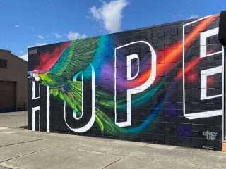 mural that says Hope with large bird